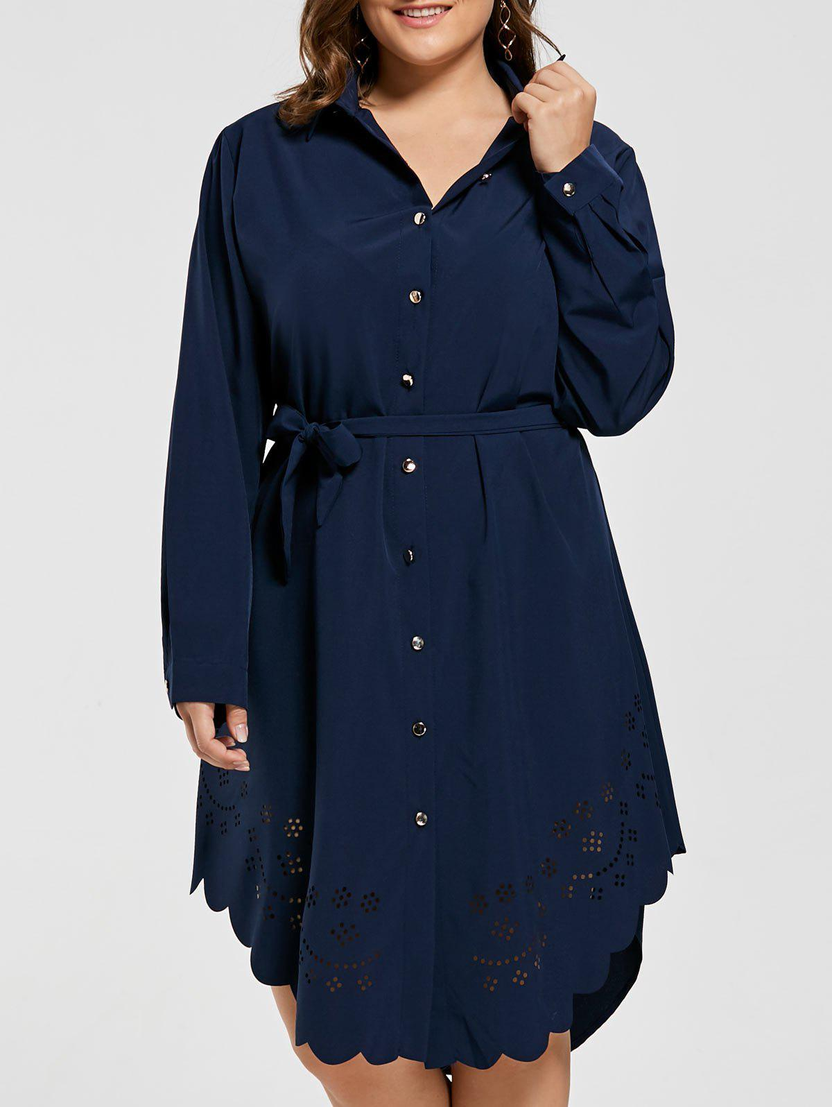 Openwork Scalloped Plus Size Button Down Shirt Dress