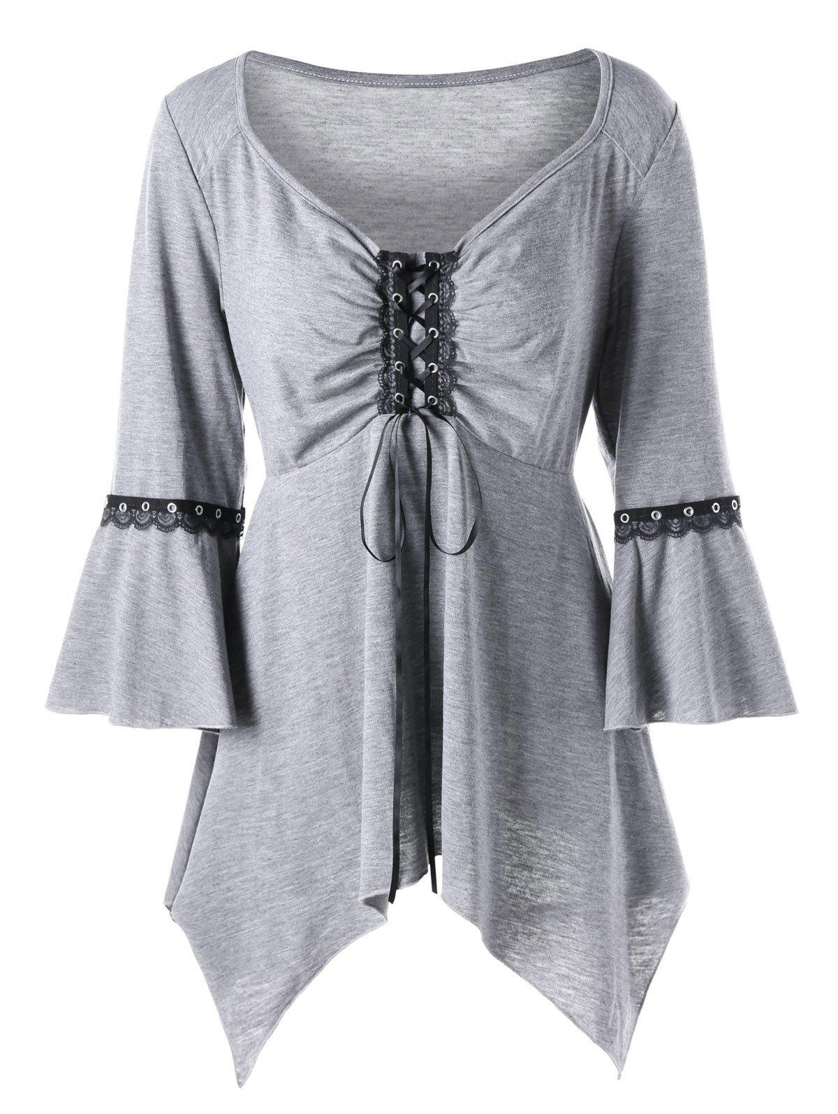Plus Size Flare Sleeve Lace Up TeeWOMEN<br><br>Size: 5XL; Color: LIGHT GRAY; Material: Polyester,Spandex; Shirt Length: Regular; Sleeve Length: Three Quarter; Collar: V-Neck; Style: Gothic; Season: Fall,Spring,Summer; Embellishment: Lace; Pattern Type: Solid; Weight: 0.3000kg; Package Contents: 1 x T-shirt;