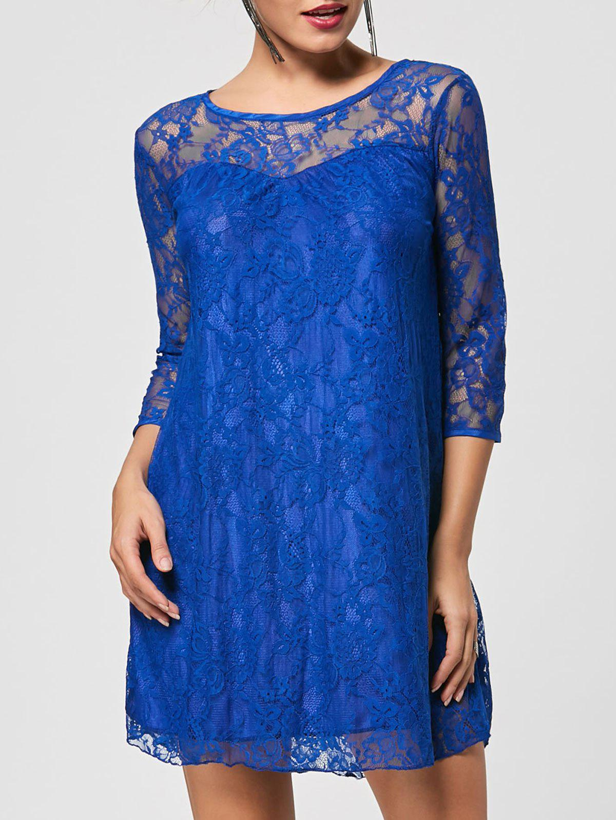 Store Stylish Round Collar 3/4 Sleeve Lace Spliced See-Through Women's Dress