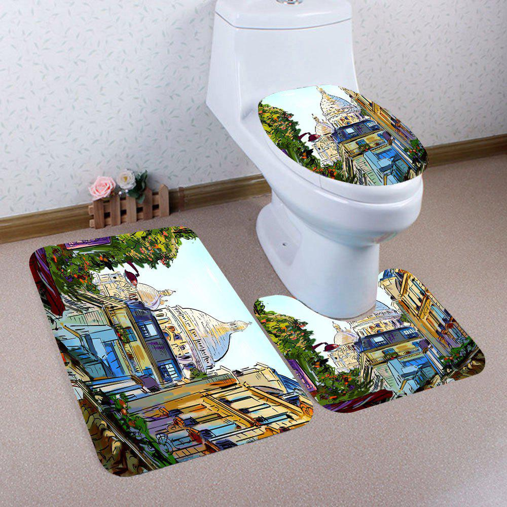 Trendy Nonslip European Architecture Print 3Pcs Bathroom Mats Set