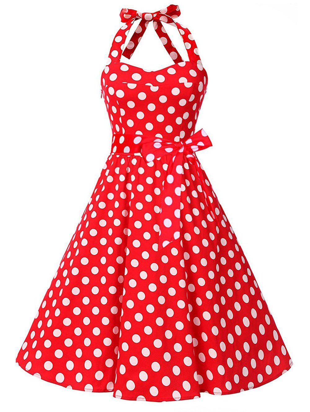 Vintage Polka Dot Backless Halter Pin Up DressWOMEN<br><br>Size: S; Color: RED; Style: Vintage; Material: Cotton,Polyester; Silhouette: A-Line; Dresses Length: Knee-Length; Neckline: Halter; Sleeve Length: Sleeveless; Embellishment: Backless; Pattern Type: Polka Dot; With Belt: Yes; Season: Fall,Spring; Weight: 0.4000kg; Package Contents: 1 x Dress    1 x Belt;