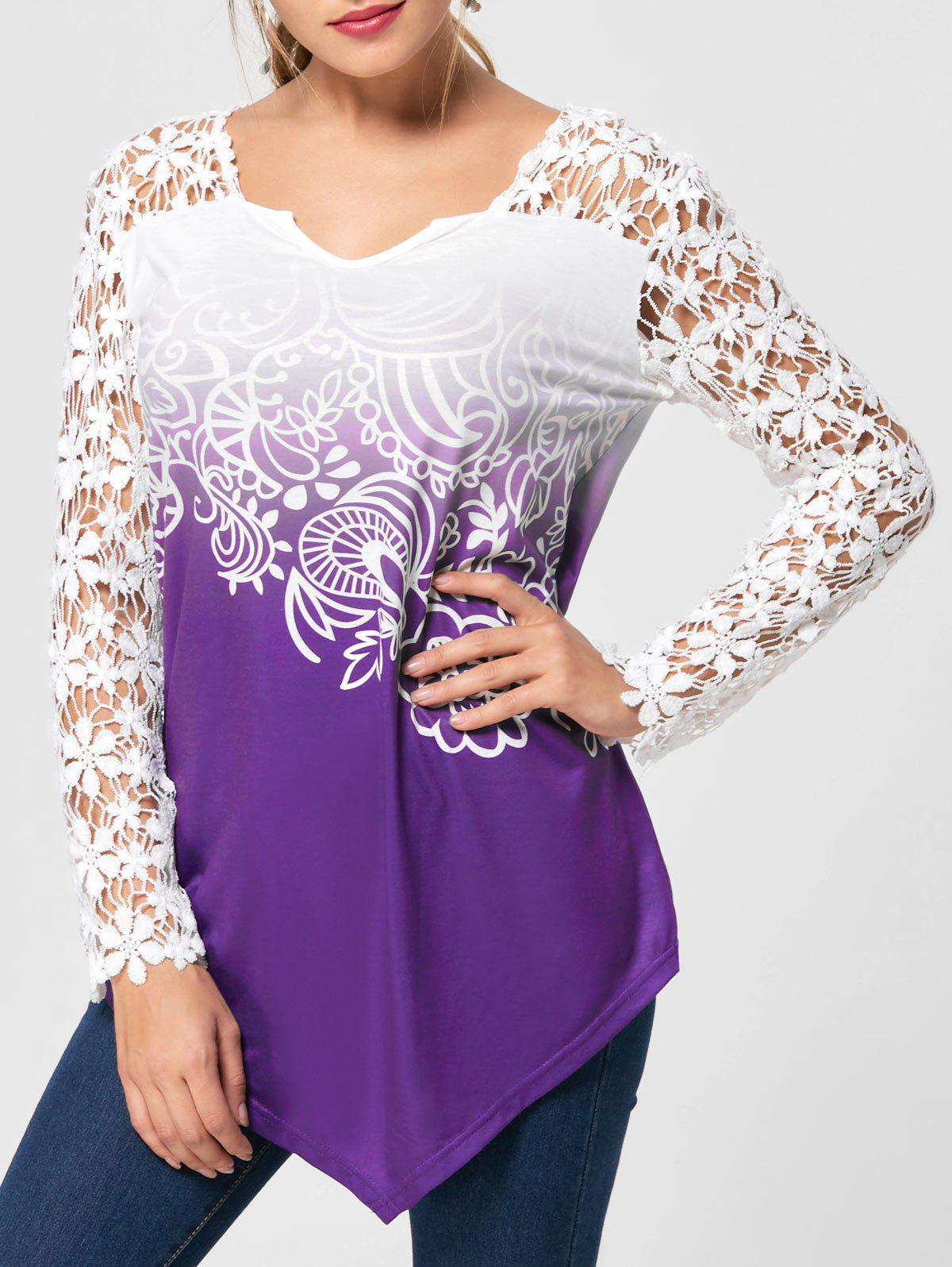 Ombre Lace Yoke Long Sleeve BlouseWOMEN<br><br>Size: 2XL; Color: PURPLE; Occasion: Casual,Evening,Party; Style: Casual; Material: Polyester,Spandex; Shirt Length: Regular; Sleeve Length: Full; Collar: V-Neck; Pattern Type: Floral; Embellishment: Lace; Season: Fall,Spring,Summer; Weight: 0.2800kg; Package Contents: 1 x Blouse;