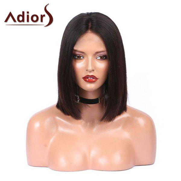 Adiors Medium Center Parting  Straight Bob Synthetic WigHAIR<br><br>Color: BLACK; Type: Full Wigs; Cap Construction: Capless; Style: Bob; Material: Synthetic Hair; Bang Type: Middle; Length: Medium; Length Size(CM): 36; Weight: 0.1700kg; Package Contents: 1 x Wig;