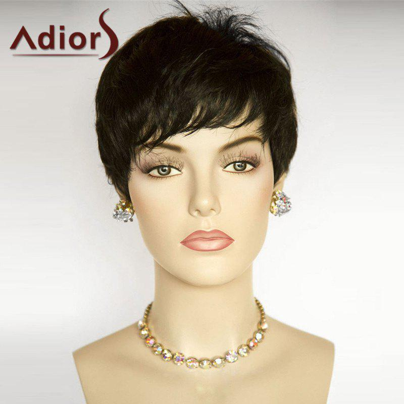 Adiors Inclined Bang Straight Short Pixie Bob Synthetic WigHAIR<br><br>Color: BLACK; Type: Full Wigs; Cap Construction: Capless; Style: Straight; Bang Type: Side; Length: Short; Length Size(CM): 22; Weight: 0.0900kg; Package Contents: 1 x Wig;