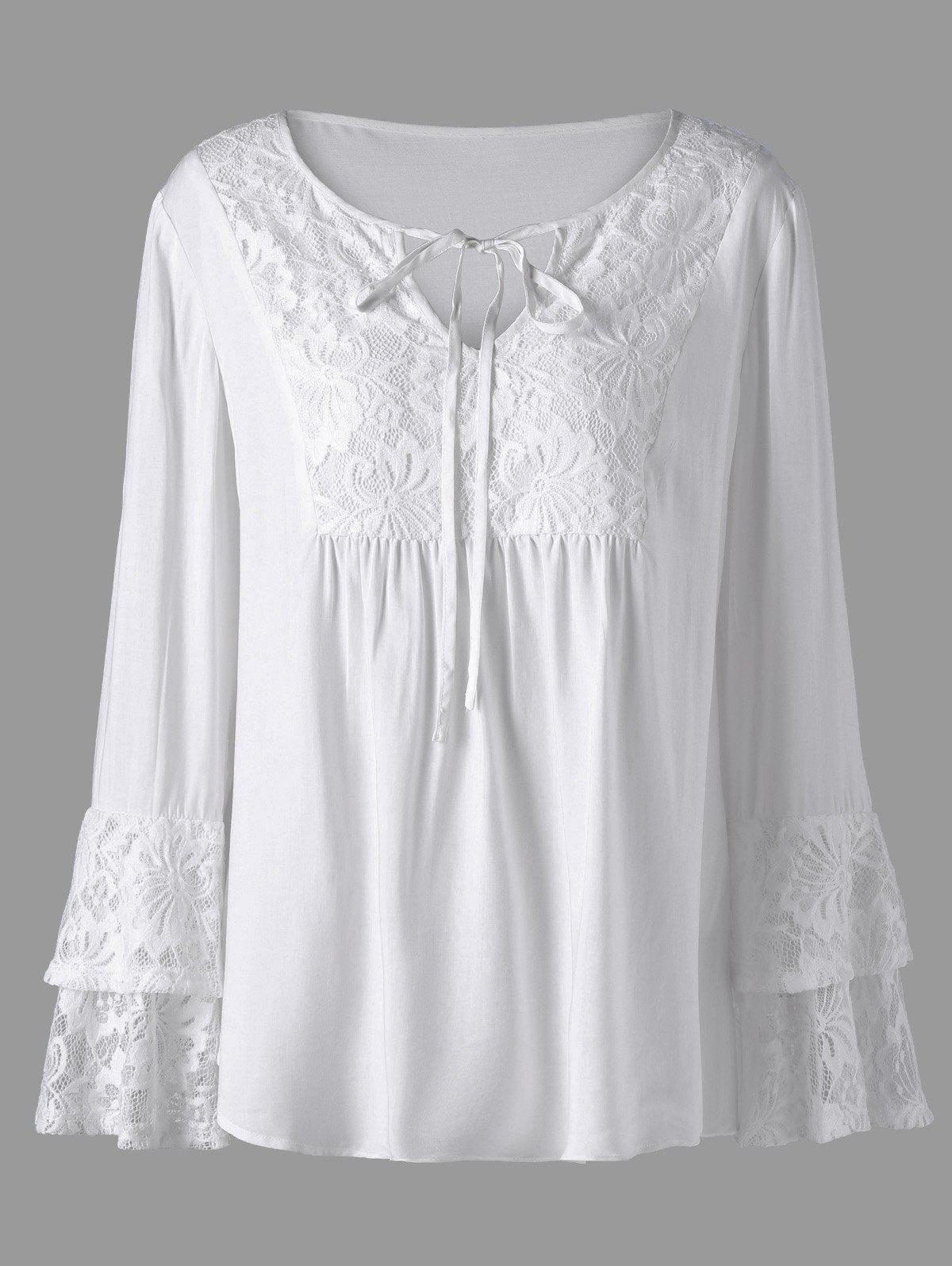 Plus Size Layered Sleeve Lace Trim BlouseWOMEN<br><br>Size: 5XL; Color: WHITE; Material: Rayon,Spandex; Shirt Length: Long; Sleeve Length: Full; Collar: Keyhole Neck; Style: Casual; Season: Fall,Spring,Summer; Embellishment: Lace; Pattern Type: Floral; Weight: 0.2200kg; Package Contents: 1 x Blouse;