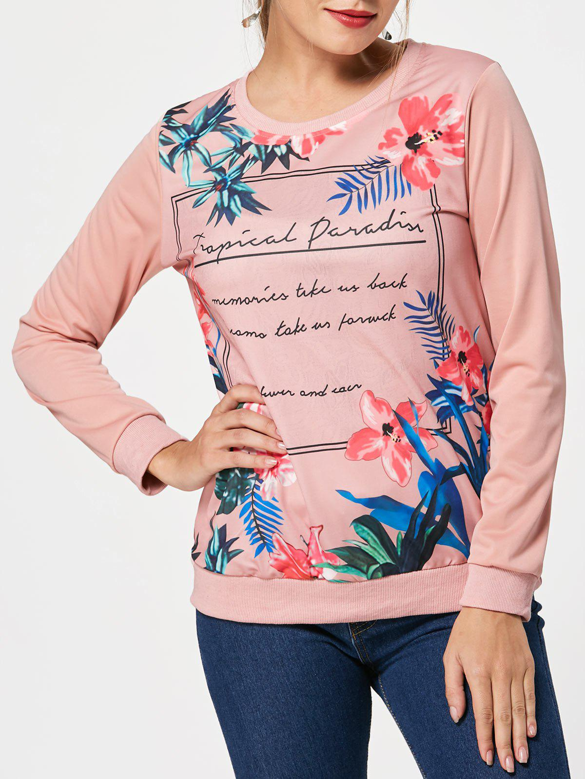 Cheap Floral Letter Print T-shirt
