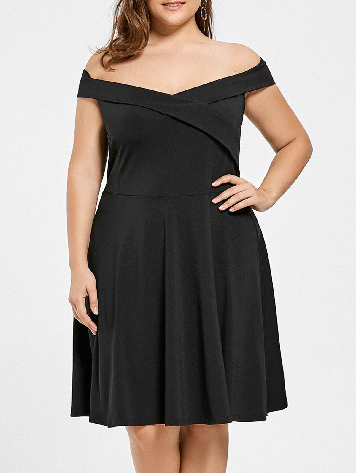70% OFF] Plus Size Off Shoulder Mini Evening Dress | Rosegal