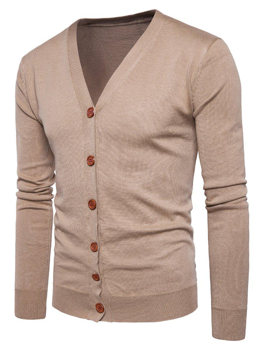 Chic Knitting V Neck Button Up Cardigan