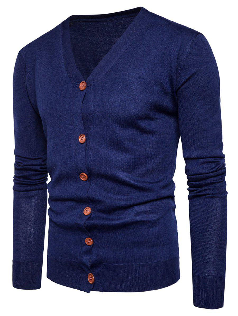Knitting V Neck Button Up CardiganMEN<br><br>Size: 2XL; Color: CADETBLUE; Type: Cardigans; Material: Cotton,Polyester; Sleeve Length: Full; Collar: V-Neck; Style: Fashion; Weight: 0.3600kg; Package Contents: 1 x Cardigan;