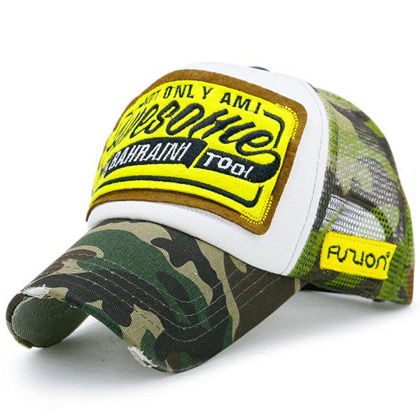 Mesh Splicing Letters Patchwork Baseball HatACCESSORIES<br><br>Color: ACU CAMOUFLAGE; Hat Type: Baseball Caps; Group: Adult; Gender: Unisex; Style: Fashion; Pattern Type: Letter; Material: Polyester; Weight: 0.1000kg; Package Contents: 1 x Hat;