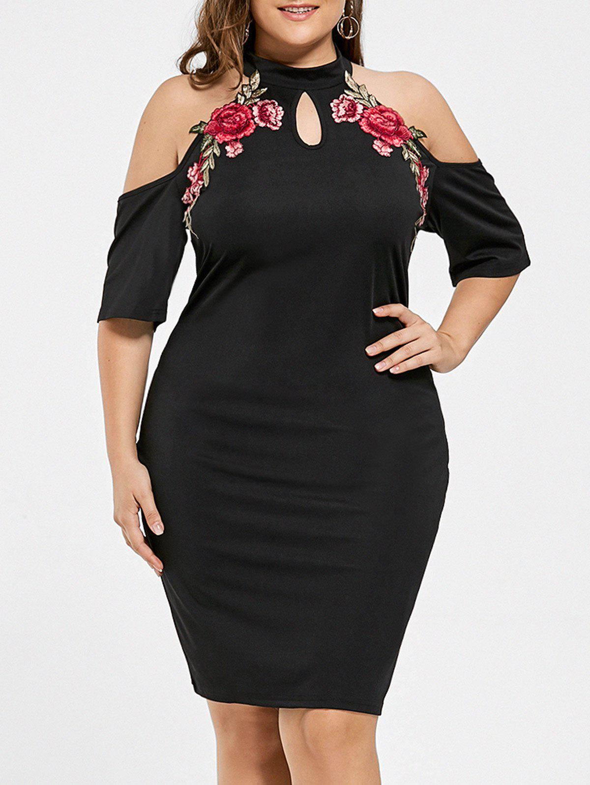 Plus Size Embroidered Cold Shoulder Keyhole DressWOMEN<br><br>Size: 3XL; Color: BLACK; Style: Club; Material: Cotton,Polyester; Silhouette: Bodycon; Dresses Length: Knee-Length; Neckline: Keyhole Neck; Sleeve Length: Short Sleeves; Embellishment: Appliques; Pattern Type: Floral; Elasticity: Elastic; With Belt: No; Season: Fall,Spring,Summer; Weight: 0.3700kg; Package Contents: 1 x Dress;