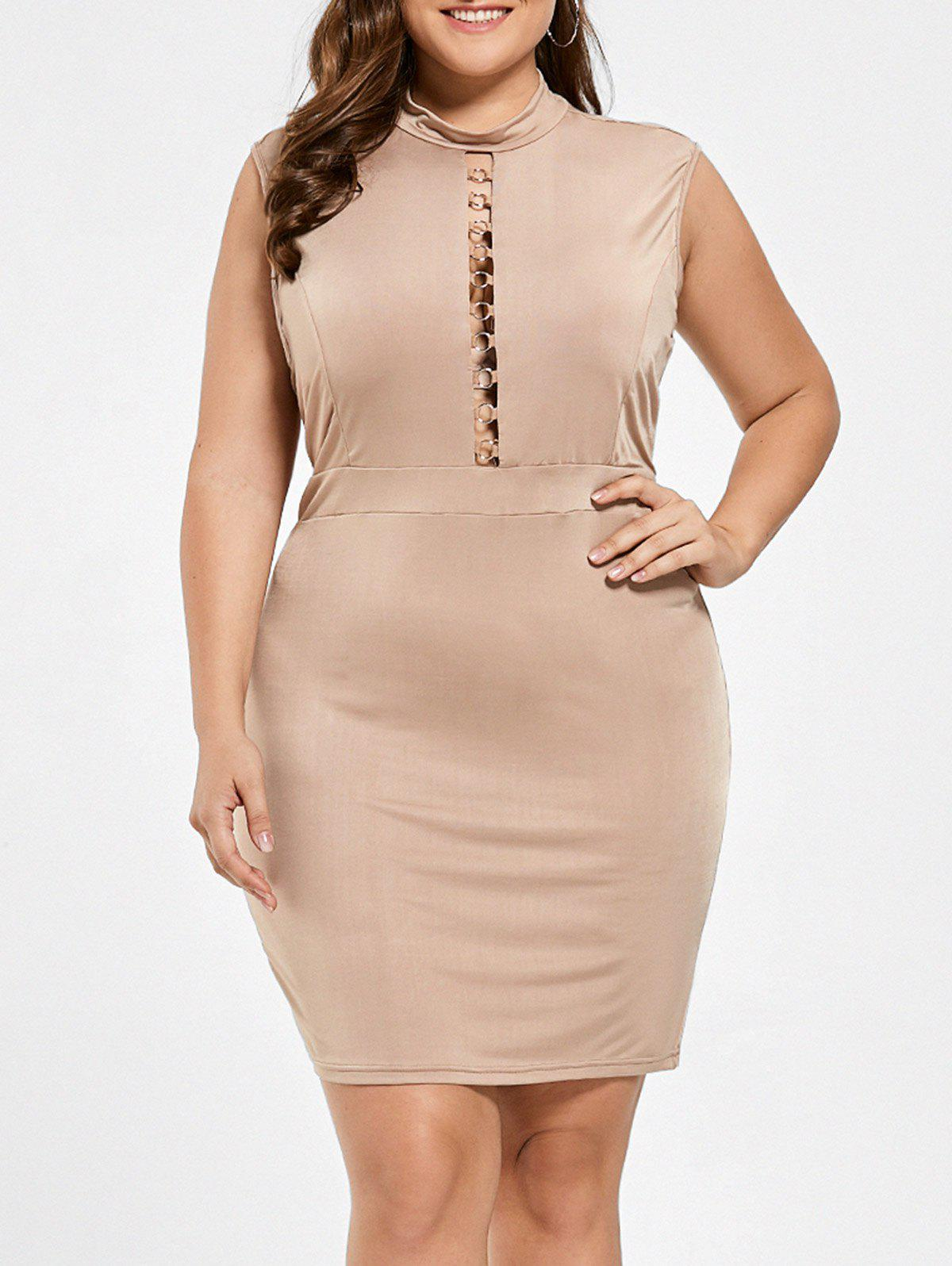 773f19c8316 2018 High Neck Cut Out Plus Size Bodycon Dress In Camel 2xl ...