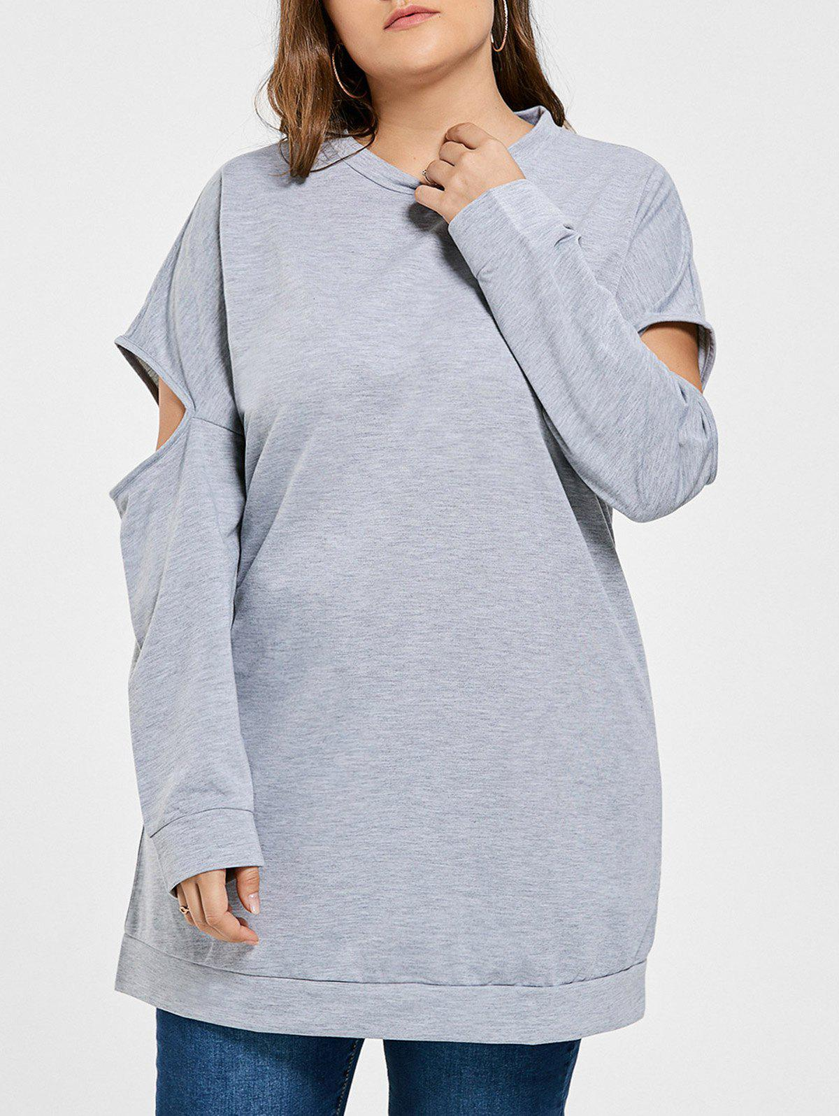 Fashion Plus Size Crew Neck Cut Out Tunic Sweatshirt