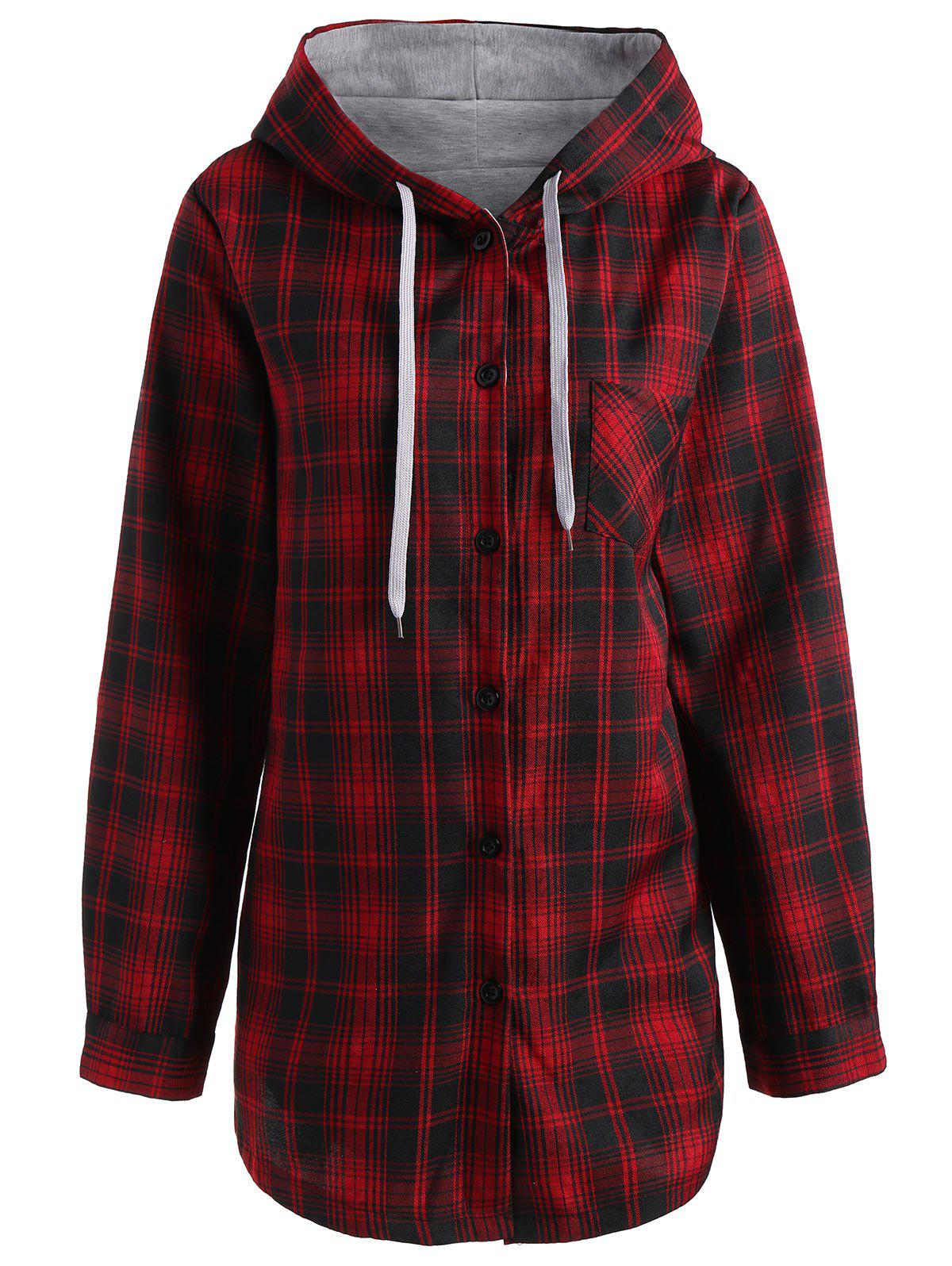 Button Up Plus Size Plaid Hooded CoatWOMEN<br><br>Size: 4XL; Color: RED; Clothes Type: Others; Material: Nylon,Polyester; Type: Wide-waisted; Shirt Length: Long; Sleeve Length: Full; Collar: Hooded; Pattern Type: Plaid; Style: Casual; Season: Fall,Winter; Weight: 0.6300kg; Package Contents: 1 x Coat;