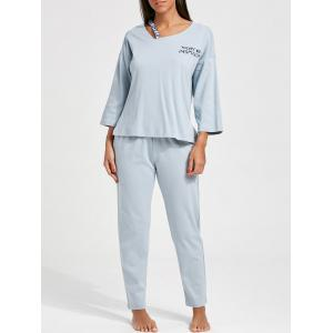 Long Sleeves Cotton PJ Set - Cloudy - M