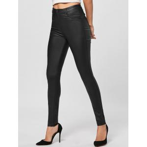 Five Pockets PU Leather Tight Pants - BLACK M