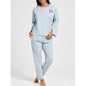 Sleepwear Batwing Sleeve T-shirt and Pants - Charm - Xl