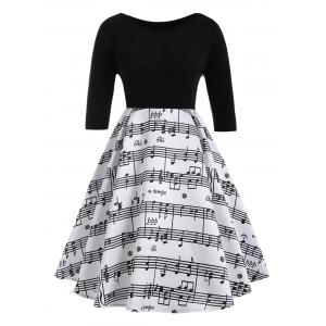 Musical Notes Print Plus Size Vintage Dress