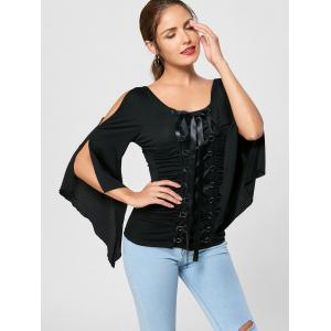 Lace Up Ruched Flare Sleeve Top - BLACK M