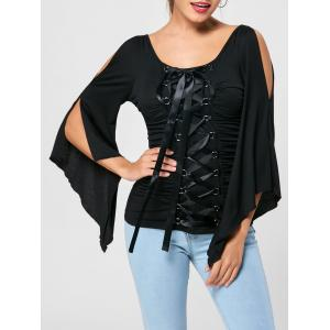 Lace Up Ruched Flare Sleeve Top