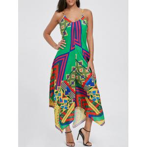 Asymmetrical Printed Cami Palazzo Jumpsuit - Colormix - 2xl