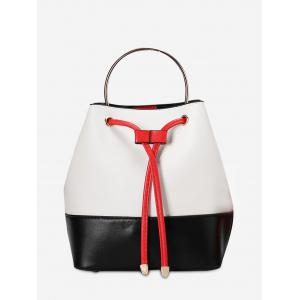 Colour Block Metal Handle Tote Bag - White And Black - 40
