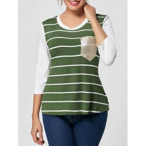 Striped Sequin Pocket Tee
