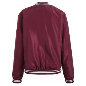 Zip Up Color Trim Baseball Jacket - Rouge vineux  S