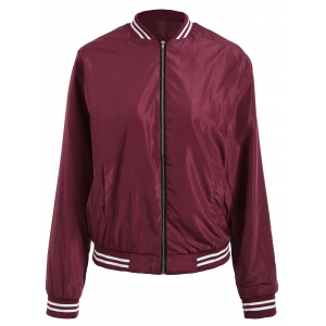 Zip Up Color Trim Baseball Jacket