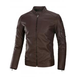 Multi Zippers Fleece PU Leather Jacket