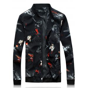 3D Floral Print Zip Up Jacket