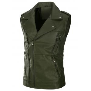Fleece Multi Zippers PU Leather Waistcoat - Army Green - L