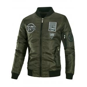Appliques Embroidered Padded Bomber Jacket - Army Green - 3xl
