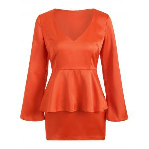 Peplum Waist Long Sleeve Satin Short Dress