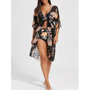 Floral Bikini with Chiffon Cover-Up