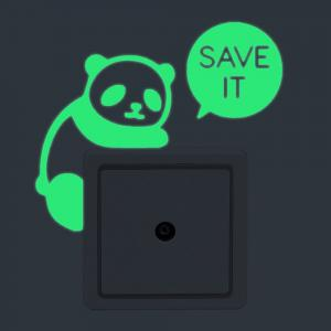 DIY Panda Shape Luminous Switch Wall Stickers
