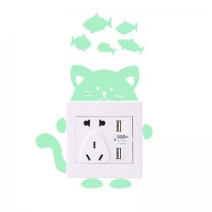 Cartoon Cat Shape DIY Fluorescent Switch Wall Stickers -
