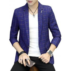 One Button Metal Detail Checked Blazer - Blue - Xl