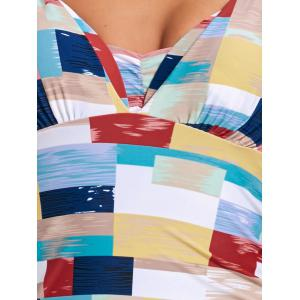 Skirted Flounce Color Block Swimsuit -