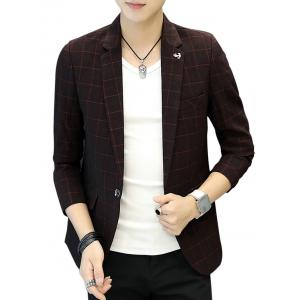 One Button Metal Detail Checked Blazer