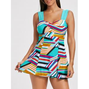 Skirted Color Block Twisted Tankini Set