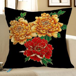 Peony and Leaf Pattern Linen Decorative Pillow Case