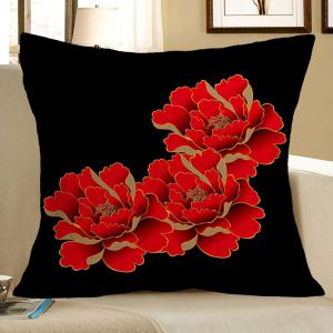 Red Peony Pattern Square Decorative Pillow Case