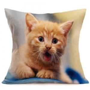 Cat Pattern Decorative Pillow Case - LIGHT YELLOW W18 INCH * L18 INCH