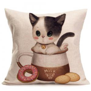 Cat Enjoying Food Print Throw Pillow Case - Gris