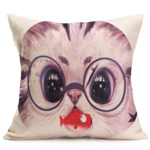 Cat With Glasses Eating Fish Print Pillow Case - GRAY W18 INCH * L18 INCH