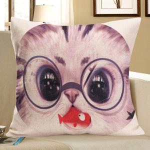 Cat With Glasses Eating Fish Print Pillow Case - Gray - W18 Inch * L18 Inch
