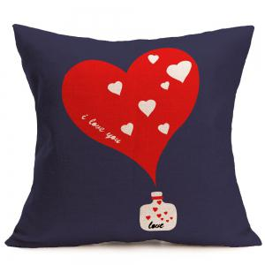 Heart Pattern Linen Square Pillow Case - RED W18 INCH * L18 INCH