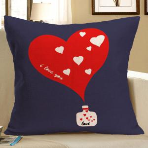 Heart Pattern Linen Square Pillow Case