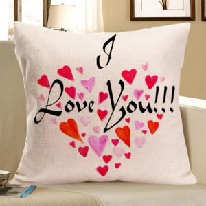 Love Words Heart Print Square Linen Pillow Case